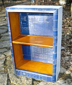 Vintage Wood Bookcase Vintage Blueprints Decoupaged