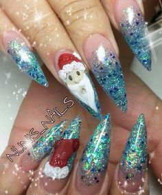 Instagram photo of acrylic nails by nunis_nails Xmas Nails, Christmas Nails, Fun Nails, Merry Christmas, Christmas Nail Designs, Hair Shows, Beauty Hacks, Beauty Tips, Nail Inspo