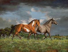 Across Heaven - Horses  Original Painting by Chris Cummings