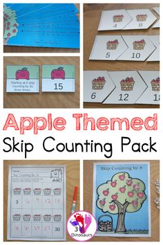 Apple Skip Counting Activities - with no-prep packs, skip counting mats, skip counting puzzles, and task cards to work on skip counting from 2 to 12 - 3Dinosaurs.com #skipcounting #firstgrade #secondgrade #mathprintables #3dinosaurs Skip Counting By 5, Skip Counting Activities, Counting Puzzles, Apple Activities, Counting Books, Autumn Activities For Kids, Apple Theme, Apple Books, Thanksgiving Crafts