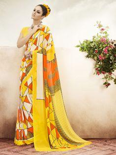 Orange Colur Georgette & Printed Contemporary Sarees   https://www.designersareesuite.com/catalog/product/view/id/25905/s/orange-colur-georgette-printed-contemporary-sarees/category/3/#.Vjd48tIrLIU