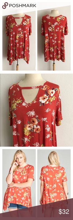 "(Plus) Floral keyhole tunic Floral tunic. Rayon/ spandex. Super soft and stretchy! Semi unfinished hem. Sharkbite hem- Length measurement is shortest/ longest points. Very TTS! I'm a 2x/16/18 and the 2x fit perfectly on me. I would call the color a brick/ orange/ red combo. Pattern may vary slightly from photos  1x: L 30/35"" B 40"" 2x: L 30/35"" B 42"" 3x: L 31/36"" B 44"" 🌎Made in the USA ⭐️This item is brand new without tags 💲Price is firm unless bundled ✅Bundle offers Availability: 1x•2x•3x…"