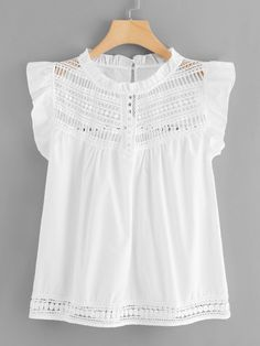 Shop Contrast Lace Frill Blouse at ROMWE, discover more fashion styles online. Pretty Outfits, Fall Outfits, Fashion Outfits, Blouse Styles, Blouse Designs, Casual Dresses, Casual Outfits, Frill Blouse, Lace Tops