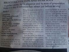 Broccoli, Stilton and Pear Soup