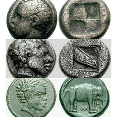 Coins showing Sidonian and minoan kings,bottom one is Hannibal of barca a carthagian general. Phoenician, Minoan, Carthage, Egyptian, Coins, Coining, Rooms, Cartago