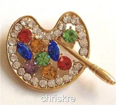 Artist Palette Crystal Pin Brooch Graduation Gift Box Paintbrush Gold Plated USA #Unbranded