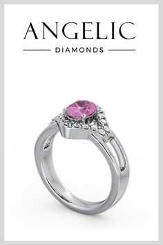 Searching for a unique engagement ring? This pink sapphire ring is certainly one of a kind! Highlighting a pink sapphire centre stone, this diamond engagement ring is truly stunning.