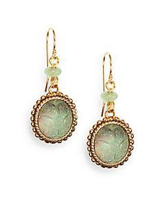 Green Agate, Carved Crystal & Bronze Drop Earrings -  Stephen Dweck