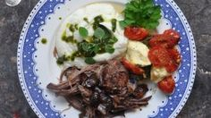 Slow-roasted lamb shoulder makes for a tasty spring feast Simply Shredded, Slow Roast Lamb, Small Oven, Cauliflower Puree, Lamb Shoulder, Cooking For Two, Fresh Herbs, Cherry Tomatoes