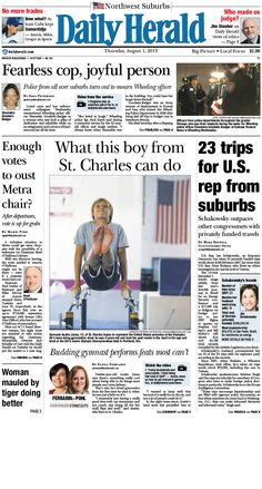 Daily Herald front page, Aug. 1, 2013; browse our e-edition at http://eedition.dailyherald.com/