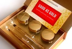 Good As Gold is a QVC exclusive 5-piece kit from bareMinerals for the holidays. The set includes 3 eye colors in Brave, Solid Gold and Chocolate Truffle, Soft Focus Liner Brush and Tapered Shadow Brush. The kit comes perfectly packaged in a gold case and the brushes with co-coordinating gold