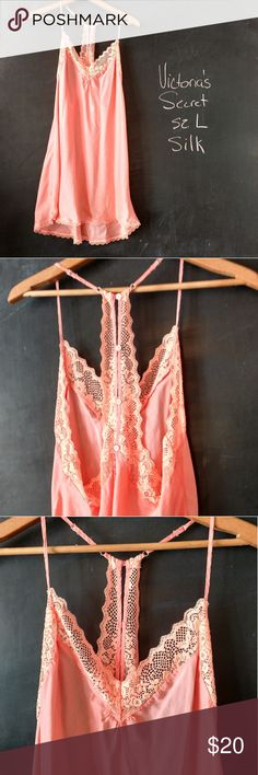 Victoria's Secret Silk Nighty Negligee Sz L Victoria's Secret silk nightgown nighty negligee chemise. Sz L Silk and lace.  Very soft silk.  Halter back, adjustable spaghetti straps. Bust 40-44 in.  Can stretch to 46 in but would be very fitted. Length 34 in from shoulder to hem.    Fits typical Victoria's Secret large.  Peach pink color. Nice piece!  Great condition.   Smoke and Pet Free environment. Victoria's Secret Intimates & Sleepwear