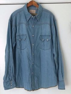 Scully Mens Western Shirt L Denim Style With Diamond Pearl Snap Buttons  #Scully #Western