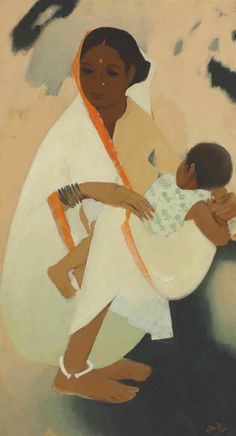 Narayan Shridhar Bendre (1910-1992)  Untitled (Mother and Child)