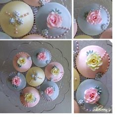 vanilla cupcakes with buttercream icing then covered with fondant and decorated with handmade roses and pearls