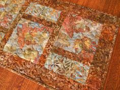 Quilted Batik Table Runner with Beautiful Leaves in by SusiQuilts