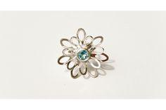 Flower Ring With Blue Topaz by emma anne Blue Topaz Ring, Brooch, Rings, Flowers, Beautiful, Jewelry, Design, Jewlery, Bijoux