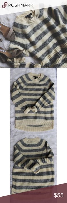 •NWT• Banana Republic Striped Sweater• Banana Republic Gray and Cream Striped Sweater which is perfect for fall and winter 🙂  →Gray and Cream Striped Sweater made with Italian yarn.  →Size: Small →The tags are attached.  →No trades(comments will politely be ignored). →15% off 2+ items 💕 Banana Republic Sweaters Crew & Scoop Necks