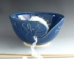 Large Yarn Bowl Knitting Bowl Whimsical Dragonfly Cobalt Blue Home Decor Knitting Supply - Ready to Ship