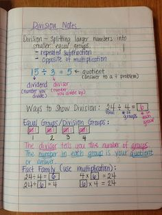 Wednesday, September 2013 Today students learned about the meaning of division. Students took notes over division in their math journal. 10th Grade Math, 3rd Grade Math Worksheets, Math Notes, Teacher Notes, Math Vocabulary, Math Math, Kids Math, Guided Math, School Classroom