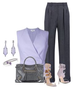 """gray and purple business outfit"" by lisamoran ❤ liked on Polyvore featuring MaxMara, Carven, Giuseppe Zanotti, Belk & Co. and Balenciaga"