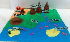 Different landforms made with clay! Geography project
