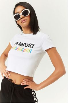 31a52a437d3fe7 Polaroid Cropped Tee by Forever 21 Crop Tee