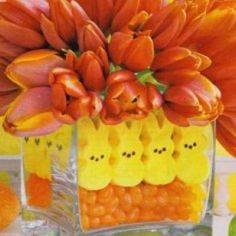 cute Easter flower arrangement with peeps and jelly beans