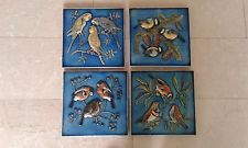 Konvolut 4 karlsruher Majolika Wandplatten, Wandbilder, Motiv Vögel