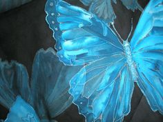 I will paint you cyan blue turquoise morpho by singingscarves, $149.00