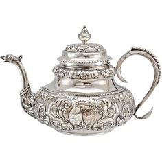 Antique Dutch Silver Tea Pot with Twin Crests ❤ liked on Polyvore