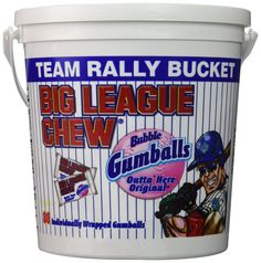 Amazon.com : Big League Original Chew Team Rally Bucket 80 Individually Wrapped Gumballs : Grocery & Gourmet Food