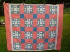 "Antique Vintage Nine Patch Scrap Quilt~Hand Quilted Cotton Print Fabrics Cotton Batting 57""x 68"" by PleasantDaysVintage on Etsy"