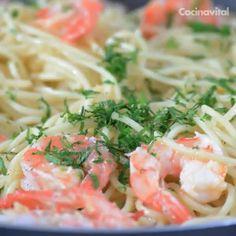 Pasta espagueti con camarones al vino blanco Easy Cooking, Healthy Cooking, Cooking Recipes, Broccoli Soup Recipes, Pasta Recipes, Spaghetti, Healthy Foods To Eat, Healthy Recipes, Lemon Pasta