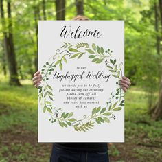 Printable Unplugged Wedding Sign Watercolor Spring by CouturePress