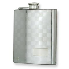 Polished Stainless Steel Checkerboard Flask - Engravable Personalized Gift Item: StyleName: JGL8834