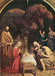 "Jesus and Dinosaurs Seasonal Box-less Set of Christmas Cards! ""The Birth of Christ"" Card by unusualcards on Etsy https://www.etsy.com/listing/209818071/jesus-and-dinosaurs-seasonal-box-less"