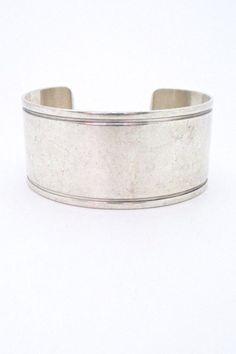 Georg Jensen, Denmark - vintage wide & heavy silver cuff bracelet #85A