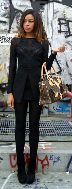 All black <3 Zara mini skirt with front pleating, American Apparel tights, Dolce Vita boots.