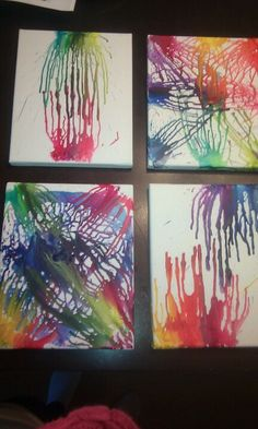 Crayola crayon art ~ just melt some crans onto canvas boards with a blow dryer<3 this was a fun family project my husband my daughter and myself did