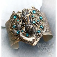 MERSONG Victorian ornate fantasy cuff, mermaid cuff bracelet,... ❤ liked on Polyvore featuring jewelry, bracelets, hinged cuff bracelet, steam punk jewelry, victorian bangle, steampunk jewelry and cuff bangle bracelet
