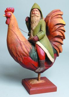 Carved Santa on a rooster - love the colors Noel Christmas, Father Christmas, Vintage Christmas, Primitive Santa, Rooster Art, Chicken Art, Chickens And Roosters, Vintage Santas, Wood Sculpture