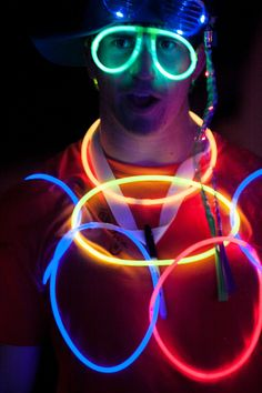 electric runner with glow necklaces and glasses