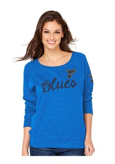St Louis Blues Womens Vintage Fleece Blue Crew Sweatshirt