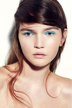 fresh face with bright teal eyeshadow #beauty #makeup