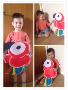 Polly parrot made from paper plates. All you need is 5 paper plates. 3 of those need to be cut in half. Dman absolutely loved doing it.