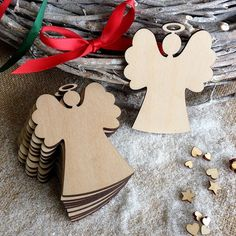 Wooden Angel Christmas Decoration, Gift Tags, Blank Shapes