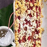 Rhabarber-Marzipan-Kuchen mit Butterstreuseln #Rezept