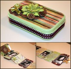mini tin album out of an altoid mint tin. What a cute idea for a photo album. Altered Tins, Altered Art, Fun Crafts, Paper Crafts, Mint Tins, Tin Art, Altoids Tins, Scrapbook Albums, Scrapbooking