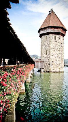 Lucerne, Switzerland the People's Bridge burned 2/3 in 1990s rebuilt.